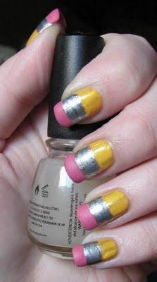 Pencil nail art cute-nails-by-other-people School Nail Art, Back To School Nails, Pencil Eraser, 2 Pencil, Fun Nails, Pretty Nails, Nice Nails, Pretty Makeup, Pencil Nails