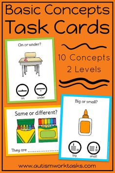 These task cards are perfect to practice basic concepts in special education classrooms or speech therapy. These back to school activities are also great independent work tasks in autism classrooms! Two levels provide visual supports and practice with both receptive and expressive answers. Can be used with clothespins or dry erase markers for independent work that also targets fine motor skills and writing!