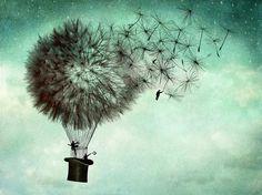 -B Dandelion Hot Air Balloon Tattoo Art And Illustration, Art Mural, Air Balloon Tattoo, Hot Air Balloon, Air Ballon, Business Poster, Ouvrages D'art, Surreal Art, Fantasy Art