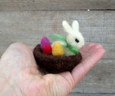 Tiny Needle Felted Easter Nest with Bunny and Eggs by NedaArt, $15.00