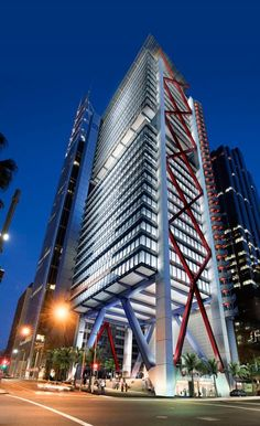 Mirvac building in the Sydney CBD - zig zag steel frame acts as support