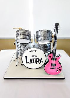 Who Says A Bridal Shower Cake Has To Be Boring This Is An Updated Version Of My Previous Beatles Drum Cake I Added A Few Things Like Hangi... on Cake Central