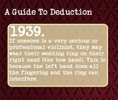 A Guide To Deduction #1939 | Suggested Anonymously