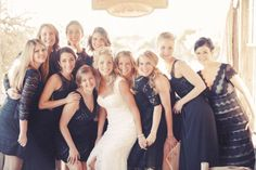 black lace + different styles // wedding bridesmaids dresses