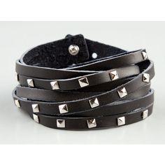 Full Tilt Pryamid Stud Faux Leather Wrap Bracelet (11 CAD) ❤ liked on Polyvore featuring jewelry, bracelets, accessories, black, full tilt jewelry, studded jewelry, vegan jewelry, wrap bracelet and full tilt