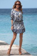 Border-print dress|Boston Proper