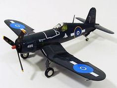 """Hobbymaster 1:48 Vought F4U Diecast Model Airplane HA8209 This Vought F4U 1D Corsair NZ5485 (RNZAF 23 Sqn 1945) Diecast Model Airplane features working propeller. It is made by Hobbymaster and is 1:48 scale (approx. 26cm / 10.2in wingspan).    NZ5485 BuNo.57473 was shipped from the USA on October 4 1944, assembled and given the code """"485"""" and named """"Kohimarama IX"""". The aircraft belonged to RNZAF servicing units and were loaned to squadrons for operations. In August 1945 the aircraft was with…"""