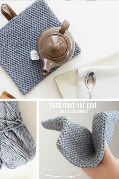 This thick, crocheted hot pad turned out so well! It's so easy and completely beginner friendly, yet the pattern created a very professional, heavy duty piece. I love the modern look! You'll find the super simple, free crochet pattern here.