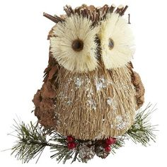 Hanging Natural Owl -- my newest Christmas decoration