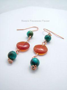 Turquoise and Carnelian Copper Wire Dangle by DanusTreasureTrove, $12.00