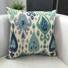 This gorgeous 22 x 22 ikat pillow cover is made from Richloom Django Ikat Blend Turquoise. This designer fabric is a medium/heavy weight,