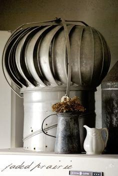 Large Vintage Galvanized Turbine Roof Attic Vent Fan Barn