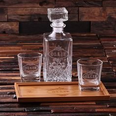 This bamboo serving tray, 2 whiskey glasses, and decanter makes the perfect gift for that classic gentlemen in your life. Designed to evoke 1920s charm, bottle will be cherished for generations. Great