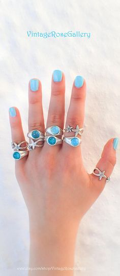 Silver Gemstone Summer Ring, #VintageRoseGallery #etsy Amazonites doublet Stackable Ring , Summer Blue Rings by VintageRoseGallery