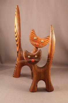 Wood Figurines Funny Pair of Cats True 60s by ZeitreiseFrankfurt