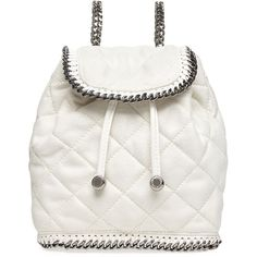 Stella McCartney Falabella Quilted Mini Backpack (49,295 THB) ❤ liked on Polyvore featuring bags, backpacks, bolsas, purses, borse, chalk, white bags, faux leather backpack, vegan bags and mini bag