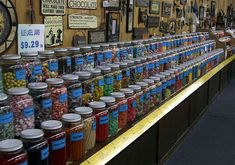 Chutter's claim to fame is the world's longest candy counter. It's 112 feet (34m) long, which is the entire length of the store. Jars of gum, sugar fruit slices and candy knickknacks are stacked three deep the entire length of the counter.