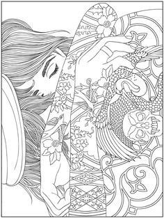 BODY ART TATTOO colouring pages FREE samples @ Dover Publications