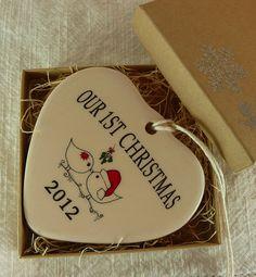 Our 1st Christmas Porcelain Heart Ornament by aphroditescanvas, $22.00