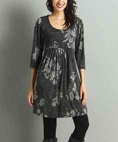 Another great find on #zulily! Charcoal & Gray Paisley Empire-Waist Dress #zulilyfinds