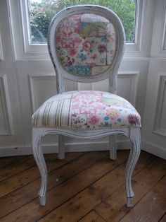 Shabby chic painted patchwork and letters Eau De Nil French Louis style chair, seen on eBay