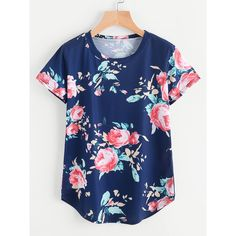 65f9f70505 Florals Curved Hem Tee ( 9.99) ❤ liked on Polyvore featuring tops