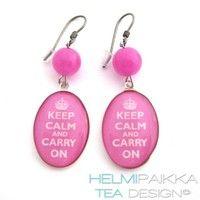 Pinkit Keep Calm korvikset - Helmipaikka Oy - Joka päivä on korupäivä - Helmipaikka.fi -  Tea Design korvikset - Earrings