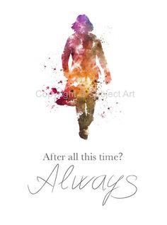 "ART PRINT Severus Snape, Harry Potter illustration 10 x 8"" Always Quote, Wall Decor, Home Decor"