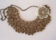 Crochet necklace gold necklace crochet choker by DIDIcrochet