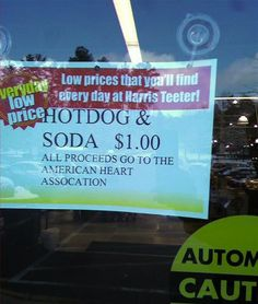 gawck's funny sign friday™: Perhaps salad and water would have been a better fundraising food choice. #hotdogs #funnysign