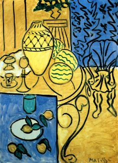 Henri Matisse - Interior in Yellow and Blue. Matisse pretty much does the best colors in the world. Henri Matisse, Matisse Art, Pablo Picasso, Matisse Pinturas, Art Fauvisme, Matisse Paintings, Post Impressionism, Art Moderne, New Blue