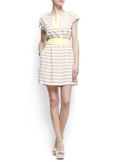 Striped Waistband Dress white and beige tan