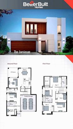 The jamieson double storey house design 250 sq m – 10 x 16 escape the everyday with the jamieson's unique facade yet practical floor plan build a lifetime of memories in the jamieson with it's stylish kitchen 3 living area's and an oversized master b Bedroom House Plans, Dream House Plans, Modern House Plans, Small House Plans, House Floor Plans, Beach House Plans, 2 Storey House Design, Two Storey House, Small House Design