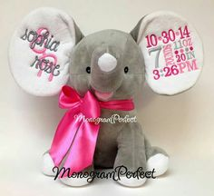 Adorable stuffed elephant baby announcement!!!