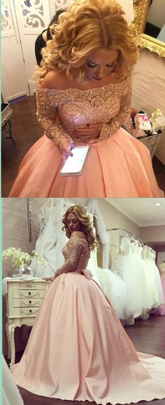 Off Shoulder Sleeves Prom Dress,Sexy Lace Evening Dress,Long Sleeves Lace Graduation Dress,Ball Gown Long Sleeves Lace Prom Gown