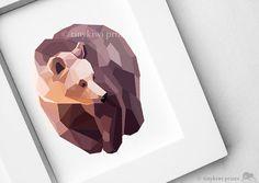 """grizzly bear geometric print"" by tinykiwiprints."