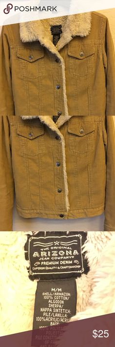 ADORABLE corduroy caramel colored jacket. Gently worn and well cared for. Warm, lined throughout with nice fluffy soft material. Many compliments when worn. I wish I could wear it but it's small now and someone else should enjoy it. 😊 Arizona Jean Company Jackets & Coats