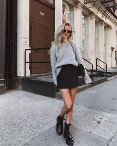 """14c56f18e59 THE ICONIC on Instagram  """"The Jadon boots from DR MARTENS - what are you  wearing them with  👢 styled by  mvb. Sweater and skirt are hers."""