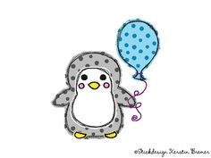 Flying balloon with penguin ♥ doodle penguin appliqué embroidery file for embroidery machines. Embroidery Machines, Embroidery Files, Embroidery Applique, Flying Balloon, Balloons, Doodles, Accessories, Art, Embroidery Designs