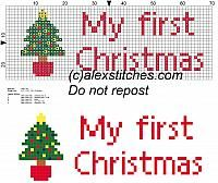 My first Christmas with christmas tree for bibs cross stitch pattern