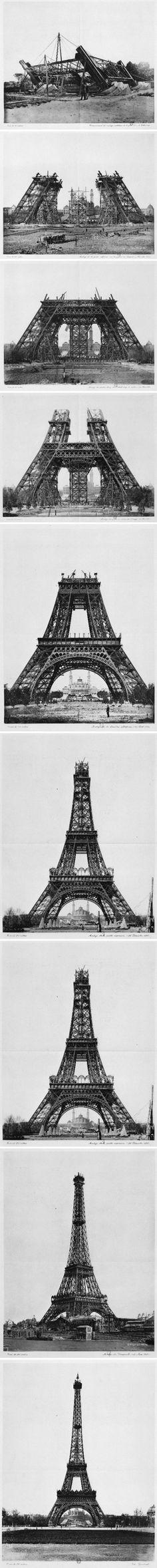 (C) Ça fait bateau mais on garde ce montage Pinterest des étapes de la construction de la Tour Eiffel #UneSource