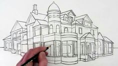 How to Draw a House in Perspective, Narrated Video by Circle Line Art School Learn how to draw a house in Two-Point Perspective in this narrated pencil drawing of a dream house in Perspective 2 Point Perspective Drawing, Perspective Art, Online Drawing Course, Dream House Drawing, Cityscape Drawing, Building Sketch, Urban Sketching, Elements Of Art, Drawing Techniques