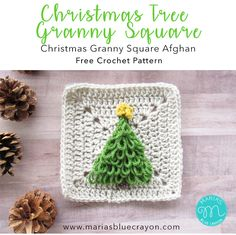Christmas Tree Granny Square | Free Crochet Pattern | This square is a part of the Christmas Granny Square Afghan | The tree is made up loop stitches to great a nice texture #christmas #crochet