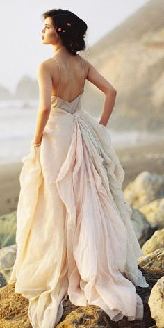 24 Peach & Blush Wedding Dresses You Must See ❤ See more: http://www.weddingforward.com/peach-blush-wedding-dresses/ #wedding #dresses #peach #blush