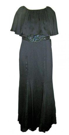 Adrianna Papell Ink (Navy) Capelet Evening Dress #081898411