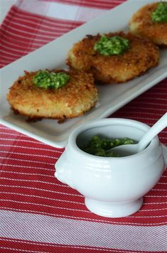 White Asparagus Risotto Cakes with Scallion Pistou.  I don't know what a Pistou is, but it really looks yummy.