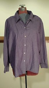 Great for layering this fall and winter! Women's Plus Size 3X Lauren Ralph Lauren Purple White Stripe Button Up Shirt
