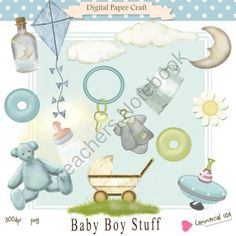 Includes   Baby Boy Stuff Clipart in PNG and 300 dpi