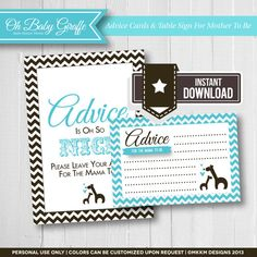 Oh Baby Giraffe Baby Shower, Advice Cards & Table Sign *Chocolate Brown & Blue*    These advice cards are perfect for a baby boy shower. Have guests