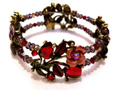 Bracelet of Roses and Hearts in Purple and by CreationsByJanetUSA, $25.00
